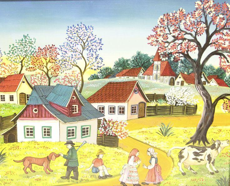 Dorf im Frühling mit Personen, Naive Malerei von Susi Majdic Öl auf Leinwand Größe mit Rahmen: 60 cm x 50 cm