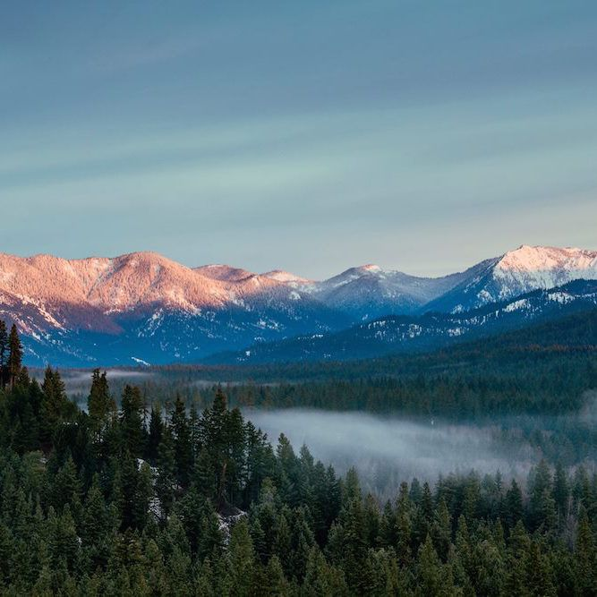 The Cascade Range frames Cle Elum, WA.