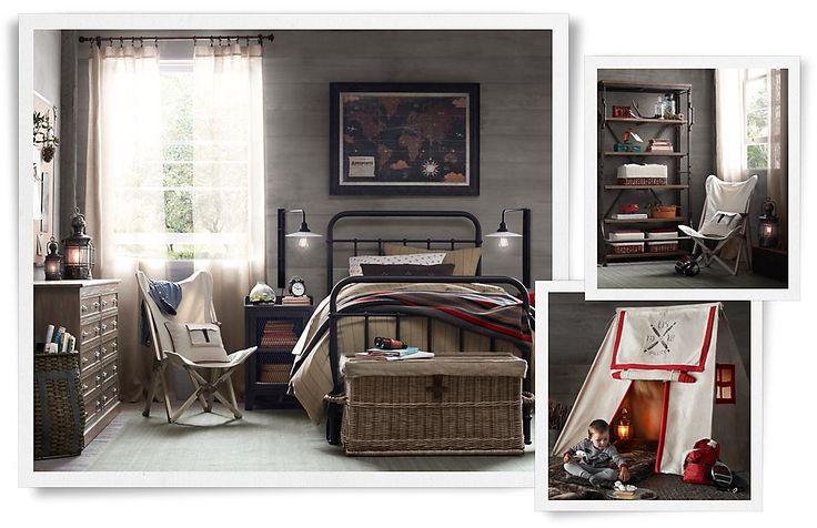 Rooms | Restoration Hardware Baby  Child Will's dream room.....Safari, camping, scientist vibe