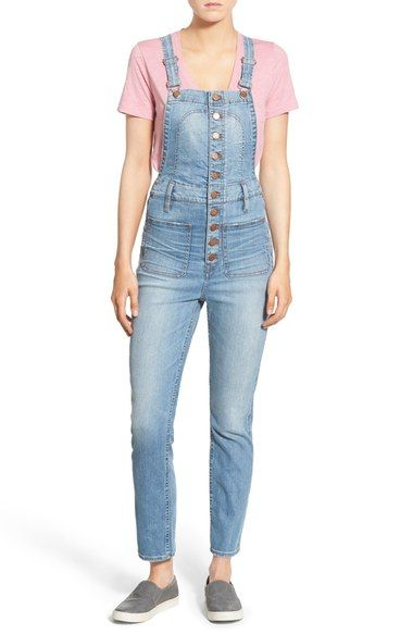 Madewell Button Front Crop Denim Overalls (Elmont Wash) available at #Nordstrom