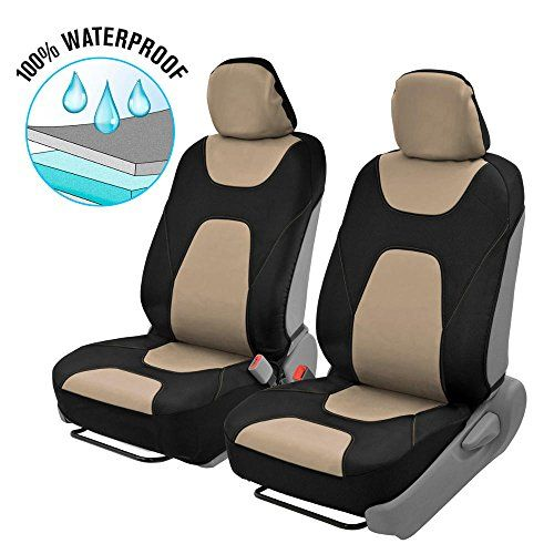 Motor Trend 3 Layer Waterproof Car Seat Covers - Modern Sideless Quick Install Auto Protection (Black & Beige). For product info go to:  https://www.caraccessoriesonlinemarket.com/motor-trend-3-layer-waterproof-car-seat-covers-modern-sideless-quick-install-auto-protection-black-beige/