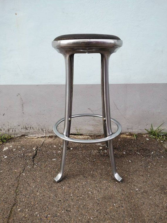 1980s Industrial Chrome And Leather Stool Vintage Retro Mid