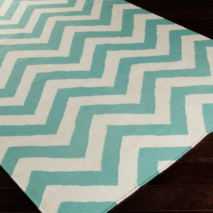 Light Teal And Ivory Chevron Striped Area Rug