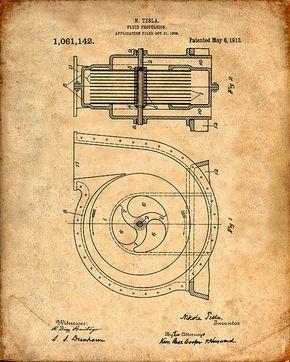 Patent Print Tesla Turbine Tesla Wall Art Tesla by VisualDesign
