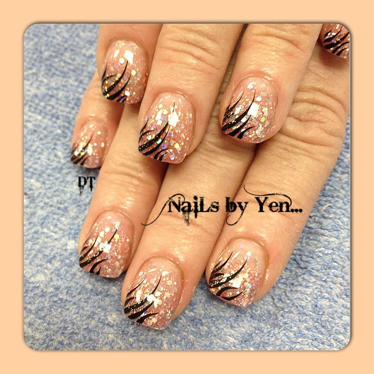 45 best nails images on pinterest nail scissors gel nails and neutral pink glitter acrylic with large silver sparkle gradient nail design and hand painted nail art prinsesfo Images