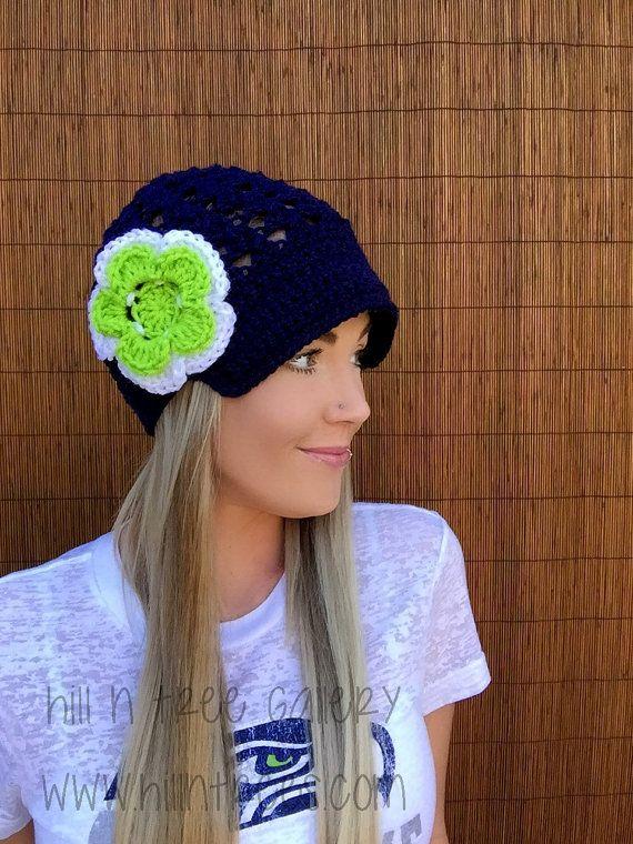Seattle Seahawks Navy Blue Cap w/ Visor & Lime Green White Detachable Flower Hawks Crochet Football Accessory Hat Knit Accessories Beanie
