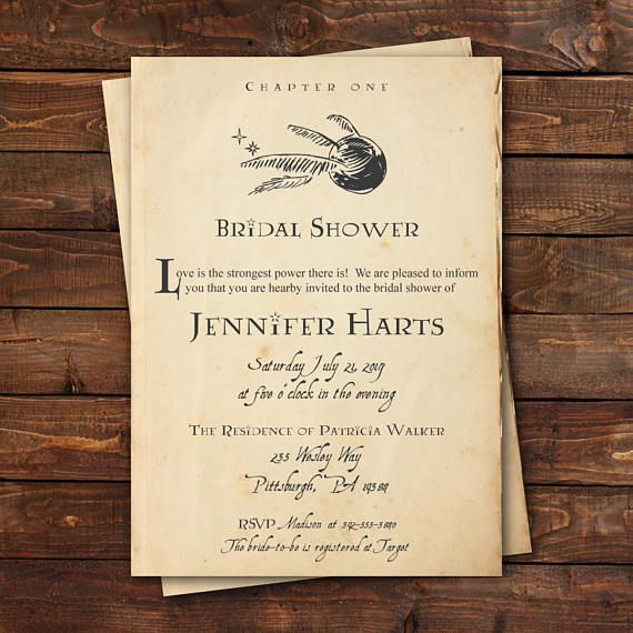 Harry Potter Bridal Shower Invitation, Harry Potter Baby Shower Invitation, Harry Potter Book Page Invitation, Custom, Printable