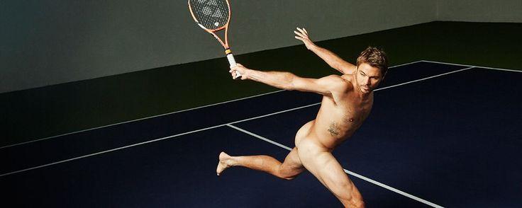 Swiss tennis phenom Stan Wawrinka with only his racket -- ESPN The Magazine Body Issue