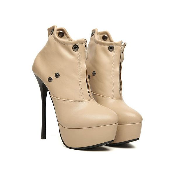 Beige Leatherette Stiletto Heel Ankle Boots ($62) ❤ liked on Polyvore featuring shoes, boots, ankle booties, udobuy, heels, bootie boots, beige ankle boots, ankle boots, stiletto booties and stiletto heel boots