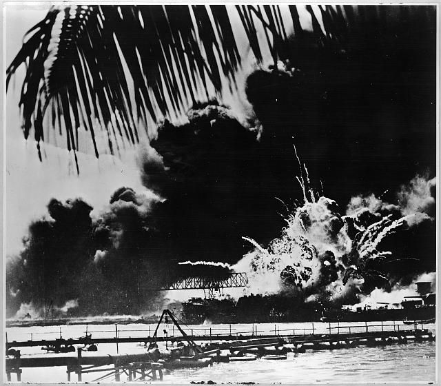 Pearl Harbor naval base and U.S.S. Shaw ablaze after the Japanese attack. (Photo:  Library of Congress Prints and Photographs)
