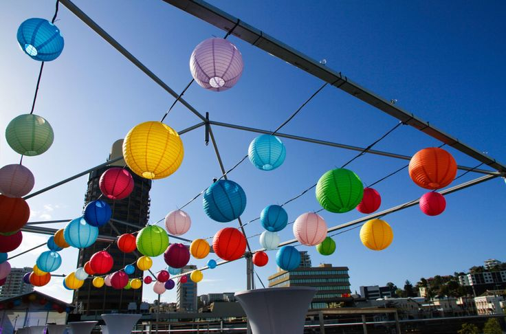 Destination Q on Victoria Bridge | Colourful lanterns by Ede Events Party  https://www.edeevents.party/collections/honeycomb-decorations
