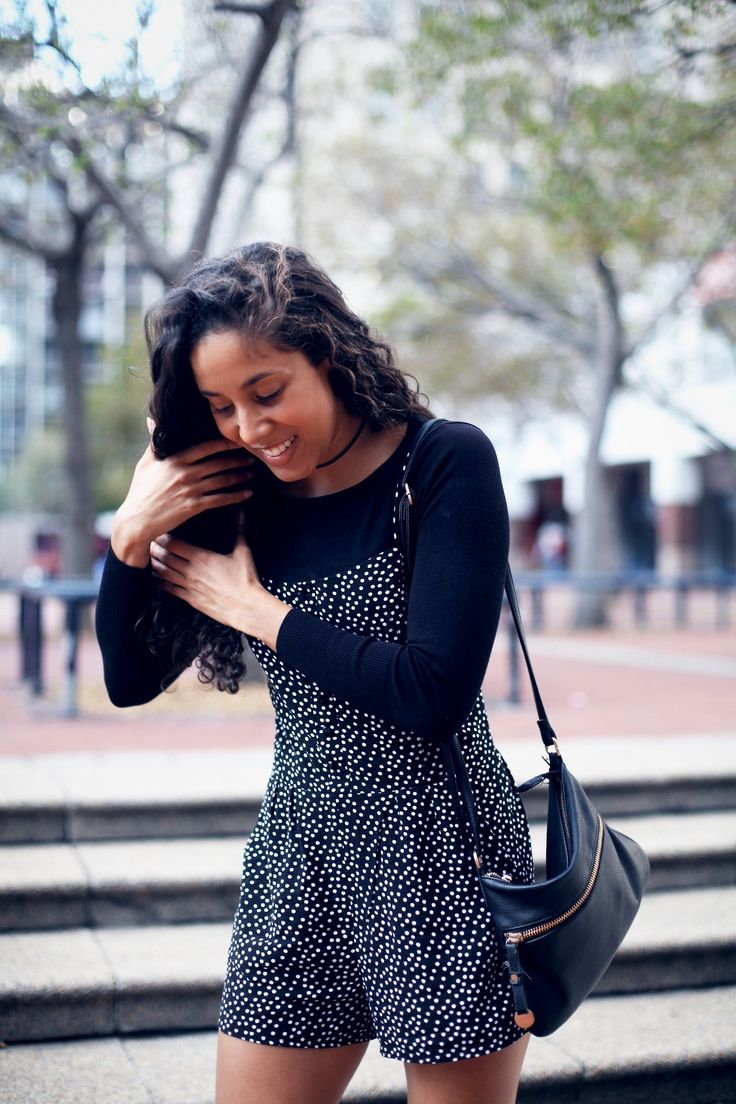 How to wear polka dots in Autumn.  #polkadots #playsuit #jumpsuit #autumnfashion #autumnlook #casual #blogger #fashionblogger #trend #curls #naturalhair #southafrica #capetown #style #trutrustyle #lookbook #lookpost #layering #autumnlayering #africa #africanstyle