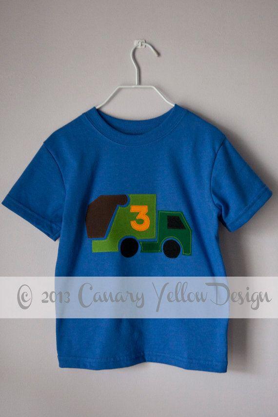 Garbage Truck Shirt, Boy T Shirt, Custom Birthday Shirt, Trash Party, Truck Applique