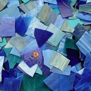 Blue Mosaic Art Glass Assortment 2 pounds art glass 18-AS
