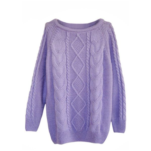Rhombus Cable Knit Purple Jumper (1.445 RUB) ❤ liked on Polyvore featuring tops, sweaters, jumpers, shirts, cable-knit sweater, cable knit sweater, flat top, long sleeve tops and chunky cable knit sweater