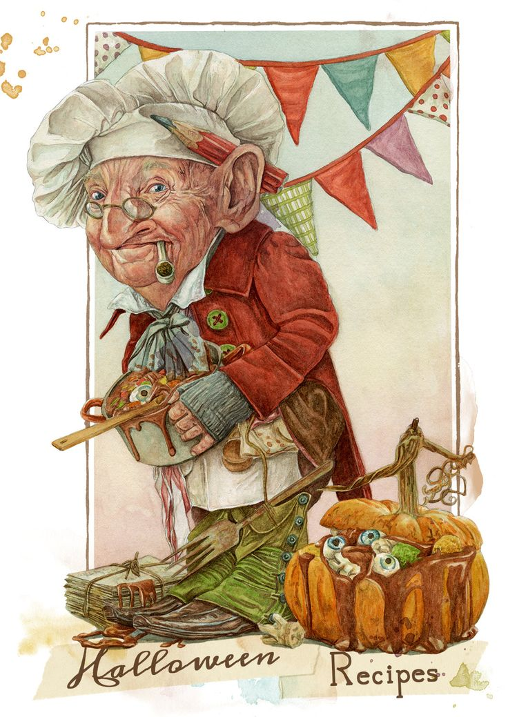 Halloween Recipes Book  (Goblin chef) de MontseRubioArt en Etsy