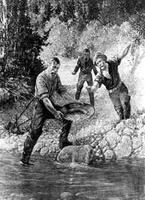 A painting of Bill Dietz discovering gold on Williams Crk in the Cariboo, 1861.