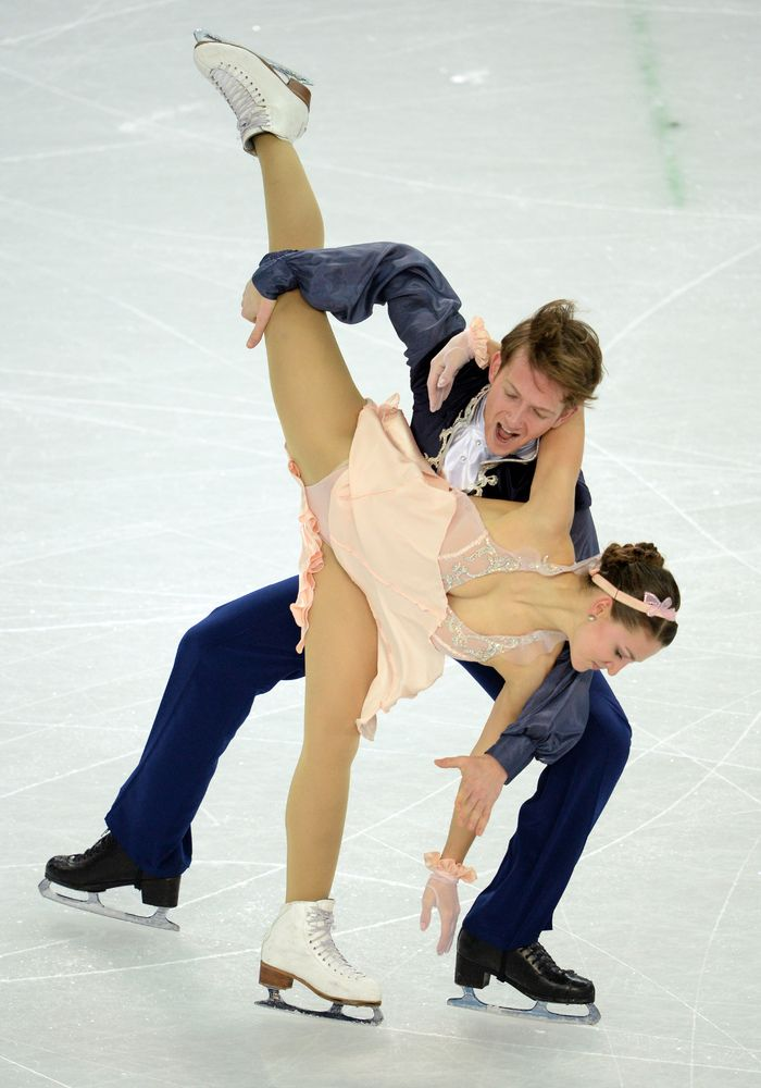 Germany's Tanja Kolbe and Germany's Stefano Caruso compete in the Figure Skating Ice Dance Free Dance at the Iceberg Skating Palace during the Sochi Winter Olympics on February 17, 2014. AFP PHOTO / YURI KADOBNOV (Photo credit should read YURI KADOBNOV/AFP/Getty Images)
