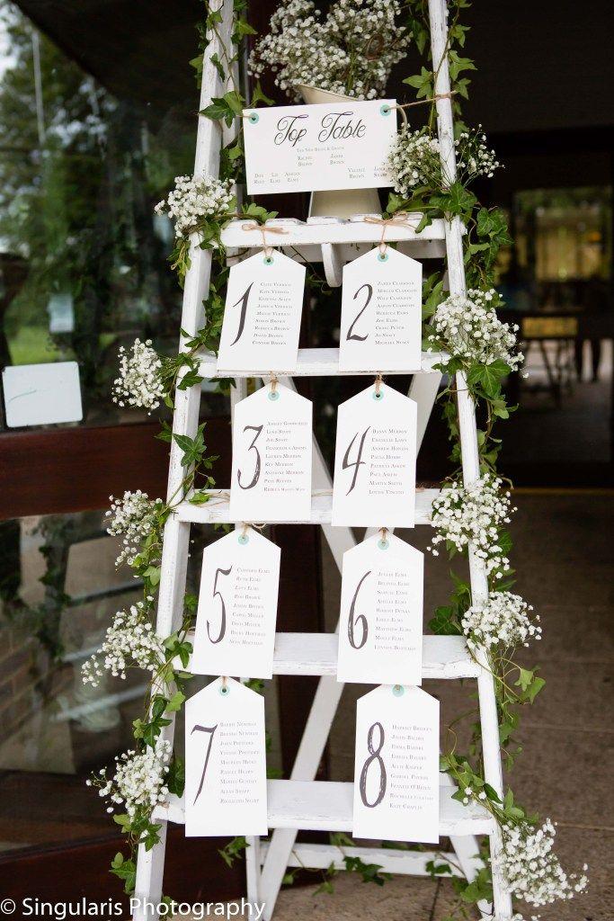 Tischplan, Sitzplan Hochzeit, weiße Leiter mit Schleierkraut und Tischplan, Trend Greenery