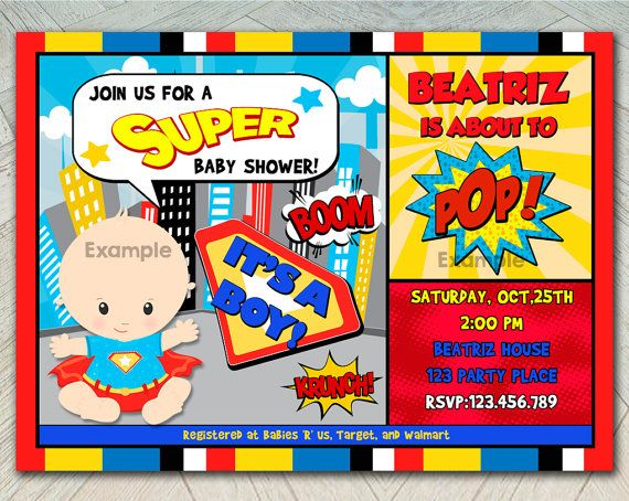 50% OFF SALE Super Hero Superman Baby Shower By Funparty2015