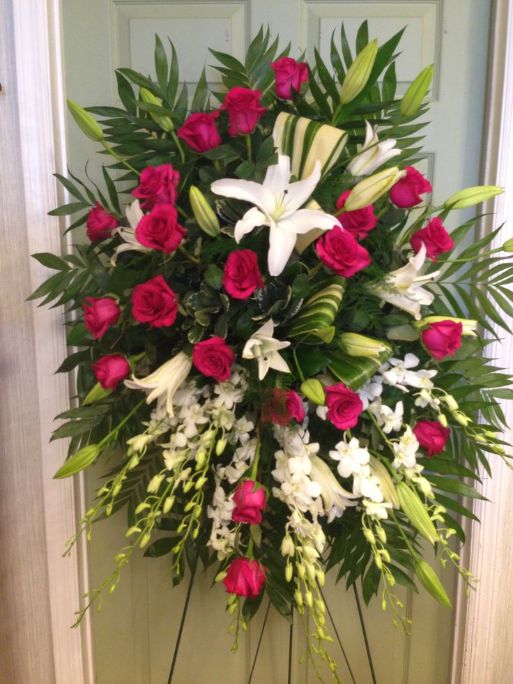 Standing Spray **** Red Roses,White Lilies, White Orchids