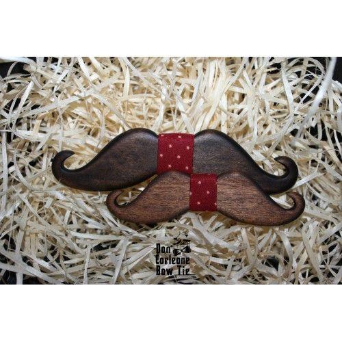 Kids Wooden Mustache Red Bow Tie/ Бабочка деревянная Усы красная детская