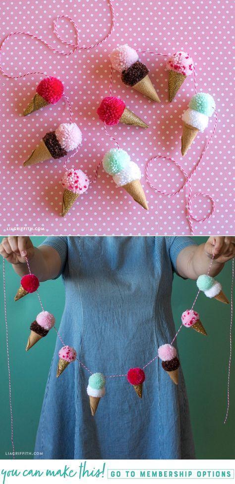 #pompom #icecreamparty #kidscraft #easycraft at www.LiaGriffith.com