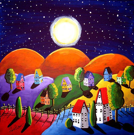 Peace On Earth Orange Hills Landscape Painting Folk Art Original Painting