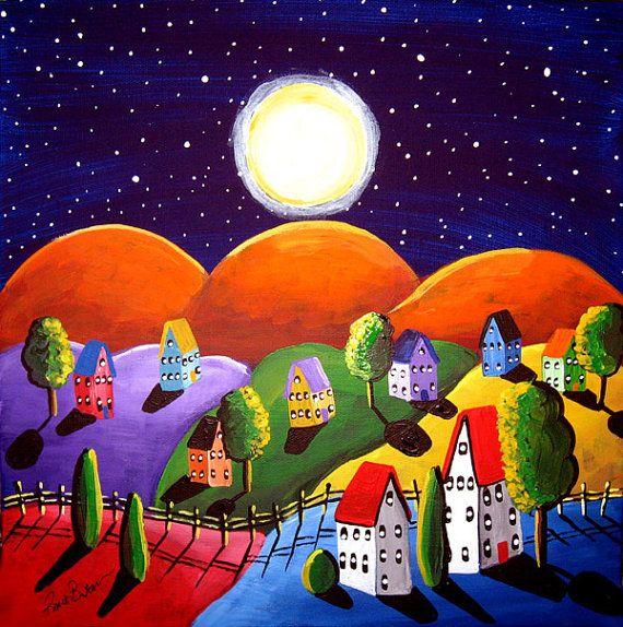 Peace On Earth Orange Hills Landscape Painting Folk Art Original Painting by reniebritenbucher on Etsy.