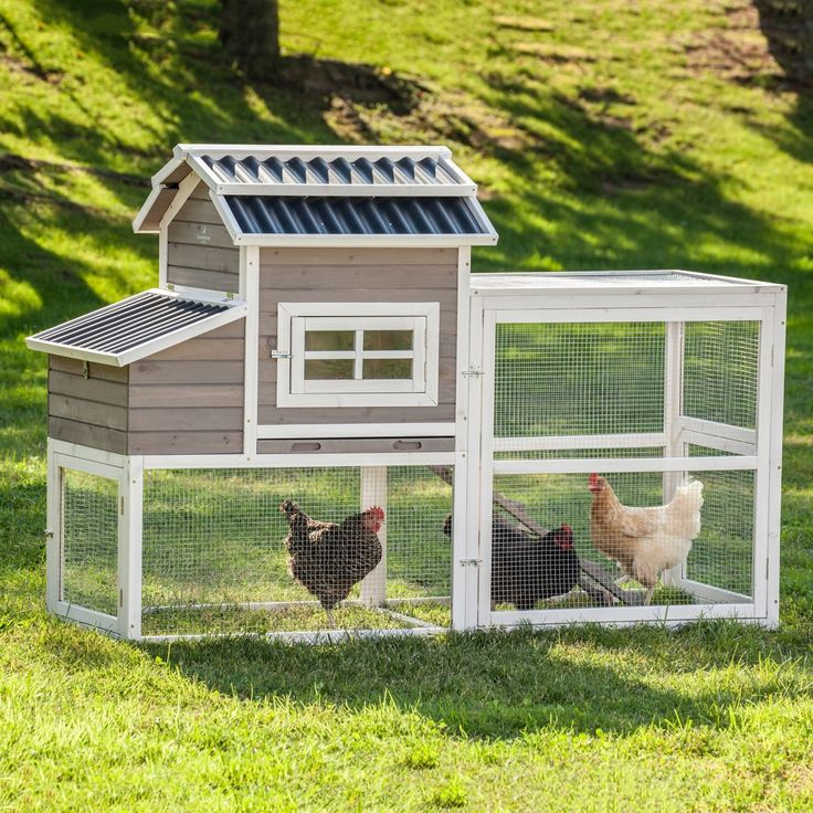 Any hen would be proud to call this coop home! Attractive barn-style coop is hand-made from sustainably harvested, naturally weather and pest-resistant fir wood with an attractive grey finish, and complete with details and amenities that set it apart from the rest.