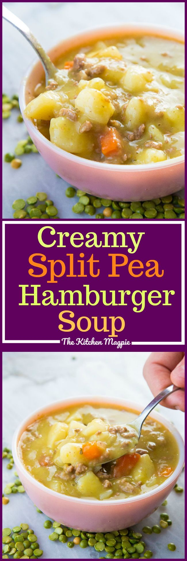 Creamy Split Pea Hamburger Soup done in the Instant Pot or your slow cooker! This hearty soup is chock full of protein and iron and is delicious! #recipe #soup #instantpot #slowcooker #hamburgersoup