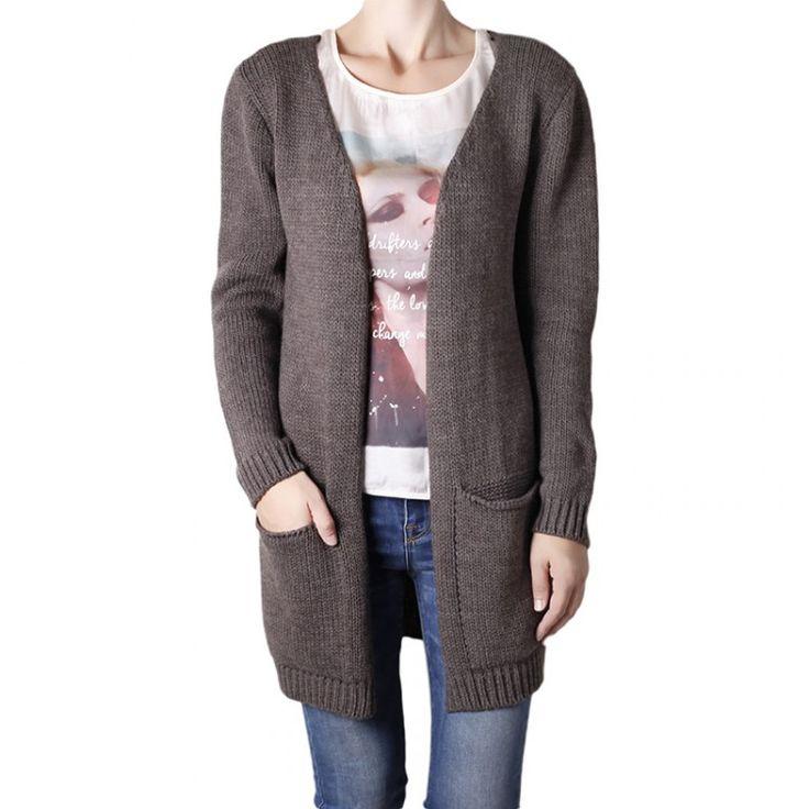 Agel Knitwear ζακέτα ανοιχτή με τσέπες και ασύμμετρο τελείωμα. 70% ακρυλικό 30% μαλλί | John-Andy.com