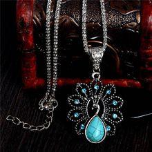Spedizione gratuita signore di modo charming bella pavone turchese pietra ciondolo collana dei monili della catena(China (Mainland))