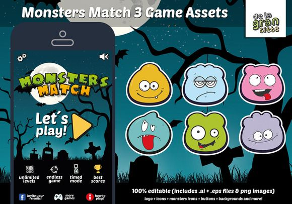 Monsters Match 3 Game Assets by DeLaGranSiete on @creativework247