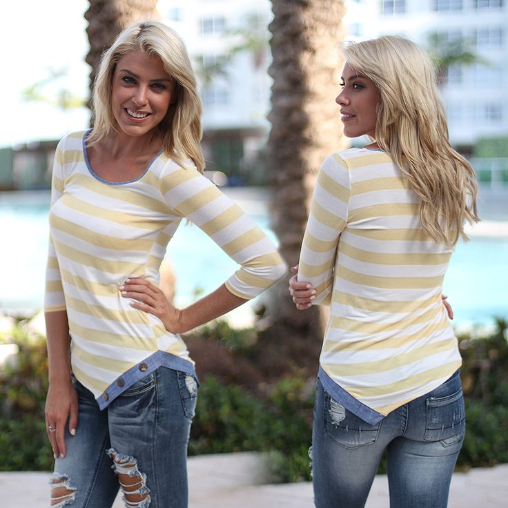 RESTOCK! WOAH, SO CUTE! We've fallen head over heels for our new Yellow Striped Top with Buttons! This amazing top is the perfect casual piece for you 2015 wardrobe. Easily pair it with our leggings, jeans, or shorts - wear day or night. The fun buttons, and flawless fit are by far our favorite part!! See this top in other colors at our trendy online boutique!