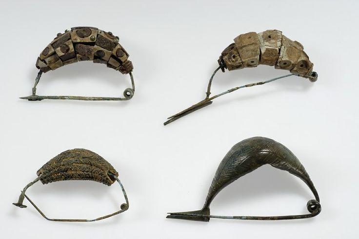 Fibule in bronzo ad arco rivestito da dischi in osso con intarsi di ambra e da vaghi in pasta vitrea decorati con motivi a spina di pesce. Savignano, Cà Bianca. Metà VII secolo a.C. Musei Civici di Modena