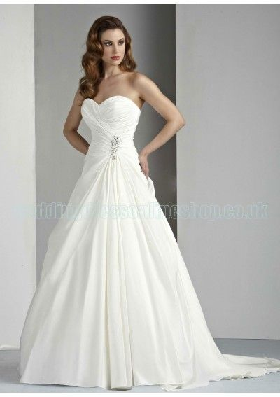 Wedding dress online shop - Taffeta Strapless Sweetheart Neckline Gathered Bodice A-Line Soft Pick-up Skirt with Beaded Detail and Chapel Train 2012 Wedding Dress WD-1185