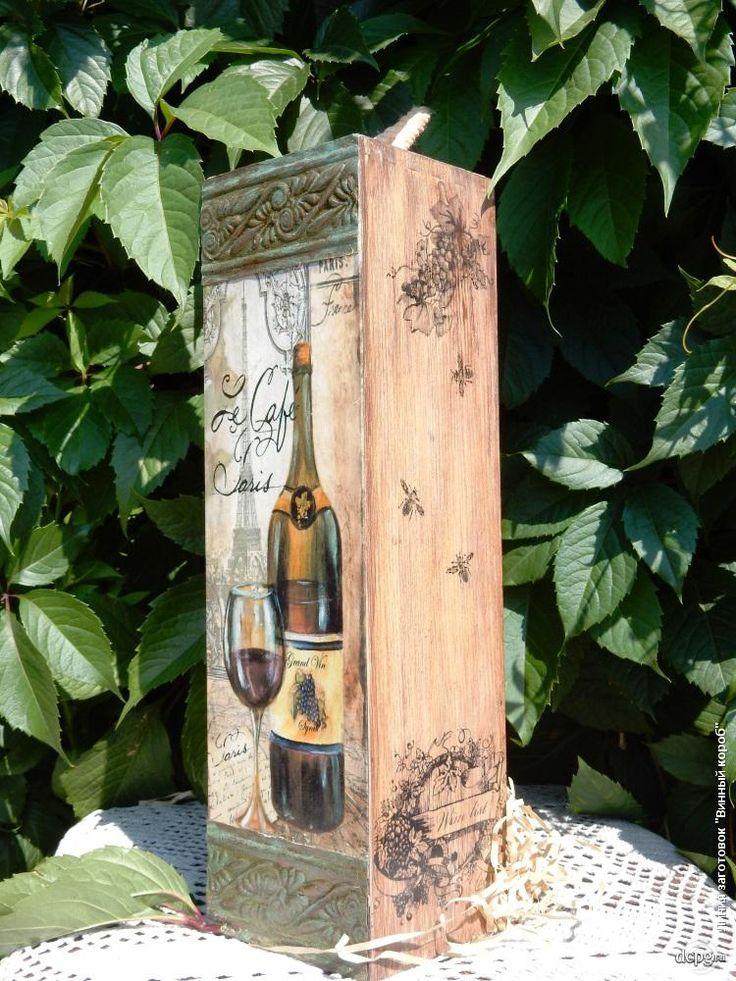 Декупаж - Сайт любителей декупажа - DCPG.RU   «Короба, подставки, упаковка для вина» №21 Работа « Воспоминание о Париже»