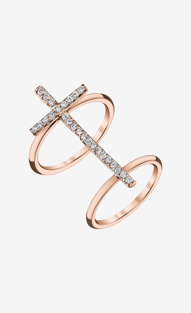 Shayan Afshar Rose Gold Diamond Cross Ring | VAUNTE