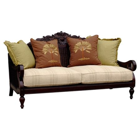 Wood Sofa With Cane Paneling And Striped Cushion Seat