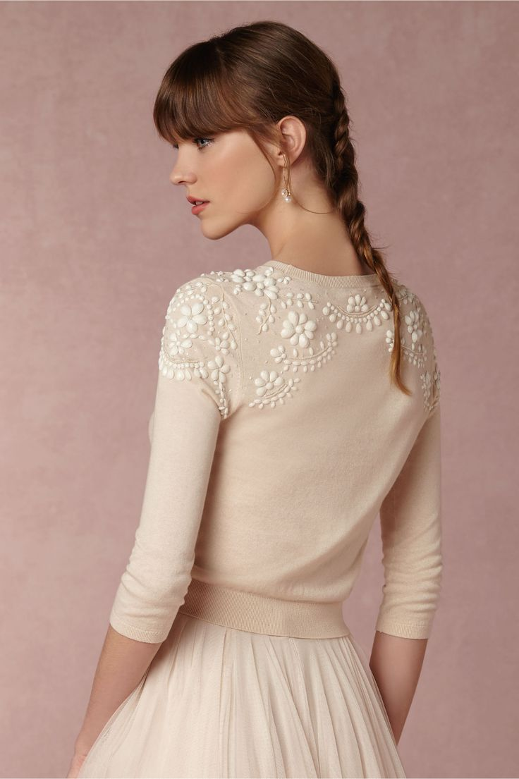 sooooo cute!!  BUT:  JULY BHLDN Millie Sweater in  Bride Bridal Separates Tops at BHLDN