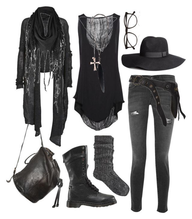 """""""just casually braving the apocalypse"""" by n-nyx ❤ liked on Polyvore featuring Dr. Martens, Current/Elliott, Raquel Allegra, River Island, Ann Demeulemeester, AllSaints, Helmut Lang, Firetrap, Illesteva and Dsquared2"""
