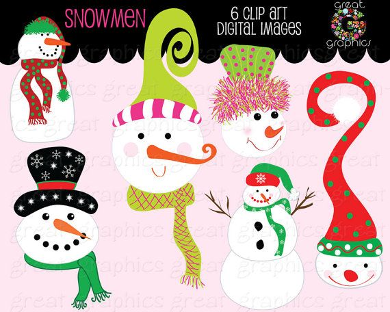 Snowman Clipart Whimsical Christmas Snowman Clip by GreatGraphics, $5.00