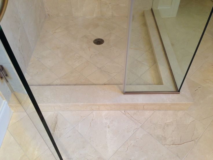 Solid Slab Crema Marfil For Shower Curb No Grout Lines