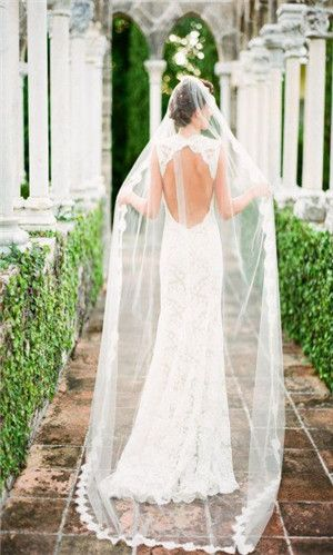 This dress is so elegant and the veil looks great being so sheer as it doesn't swamp it. A really pretty wedding dress.