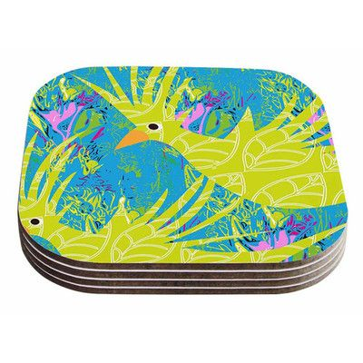 East Urban Home Tropical Fly-By by Patternmuse Coaster
