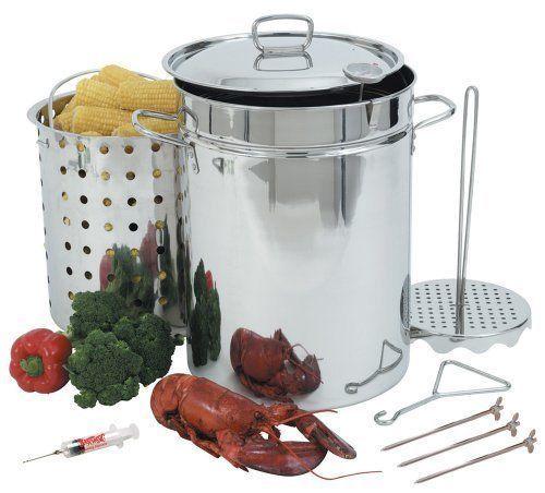 Steel Turkey Fryer Stainless Pot Basket Steamer Fries Seafood Christmas Dinner  #BayouClassic