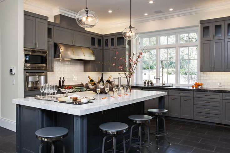 Contemporary Kitchen with Crown molding, L-shaped, Complex marble counters, Flush, slate tile floors, Kitchen island