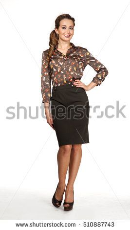 european business executive woman in official print blouse and  skirt and high heel shoes. full length body portrait isolated on white