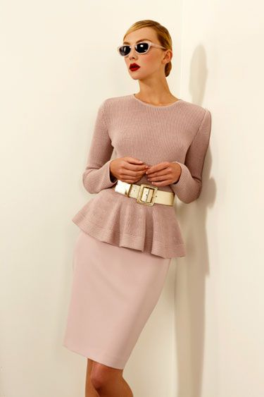 St. John Resort 2013 - Harper's BAZAAR; NOTE: Dusty rose/Blush & Peplum